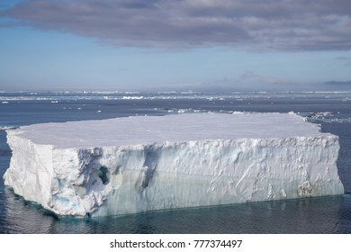 Aerial view of a tabular Iceberg in Antarctic Sound, Antarctica.
