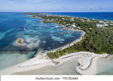 Aerial view of Tahiti Beach and Elbow Cay in Abaco, Bahamas.