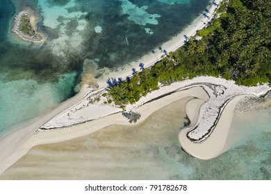 Aerial view of Tahiti Beach on Elbow Cay in Abaco, Bahamas.