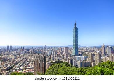 Aerial view of Taipei City with the skyscraper, Taipei 101.