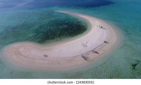 Aerial view of Taka Makassar sand island in Komodo National Park, Flores East Nusa Tenggara, Indonesia