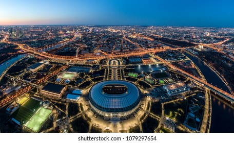An aerial view taken with a drone of the Luzhniki stadium in Moscow, Russia, Monday, April 23, 2018