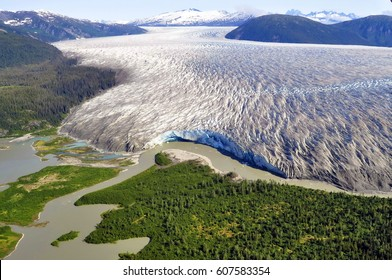 Aerial View of Taku Glacier near Juneau, Alaska, USA