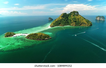 Aerial view Talay Waek Island in Krabi, Thailand.