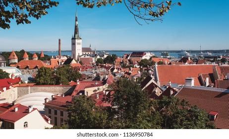 aerial view of Tallinn, Estonia, in summer. Vintage photo
