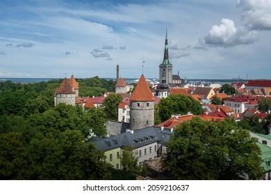 Aerial view of Tallinn with many towers of Tallinn City Wall and St Olaf Church Tower - Tallinn, Estonia