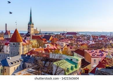 Aerial View of Tallinn Old Town, Estonia.The classic Iconic view of the city. Tallinn city wall and St. Olaf's Church