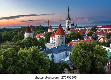 Aerial View of Tallinn Old Town from Toompea Hill in the Evening, Tallinn, Estonia
