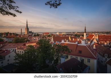 Aerial view of Tallinn at sunset with St Olafs Church Tower and Holy Spirit Church - Tallinn, Estonia