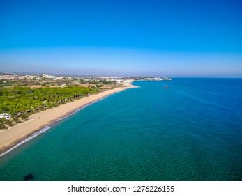 Aerial view in Tamarit. Tarragona, Spain. Drone Photo