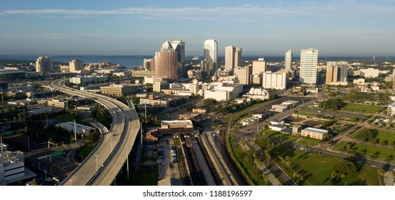 Aerial View Tampa Bay on the Florida west coast is a busy port city in the United States