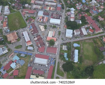 Aerial view of Tamparuli town, Sabah, Malaysia.