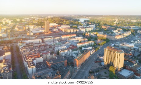Aerial view Tampere city with beauty sunset