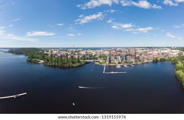 Aerial view of the Tampere city at sunny summer day in Finland. In the foreground is the new Ratina residential area and on the left the Etelapuisto and Pyynikinharju