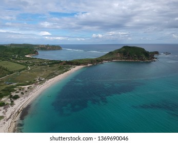 Aerial view of Tanjung Aan Beach in Lombok Indonesia