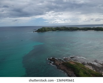 Aerial view of Tanjung Aan beach in Lombok West Nusa Tenggara Indonesia