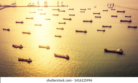 Aerial view tanker ship, oil and gas chemical tanker in open sea, Refinery Industry cargo ship.