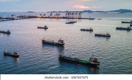 Aerial view tanker ship park in sea, Crude oil tanker and LPG  tanker loading at sunset.
