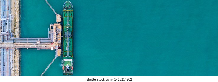 Aerial view tanker ship at the port, Import export business logistic and transportation by tanker ship with copy space.