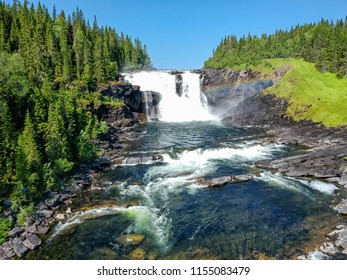 Aerial view of Tannforsen - Swedish biggest waterfall
