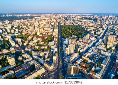 Aerial view of Taras Shevchenko Boulevard in Kiev, the capital of Ukraine