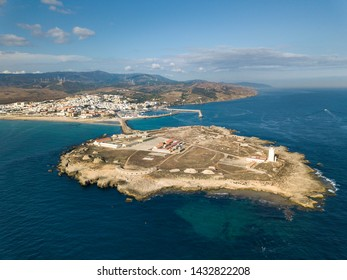 Aerial View of Tarifa - Cadiz the souther points of Europe , the place were Mediterranean Sea meet the Atlantic Ocean close to African Continent