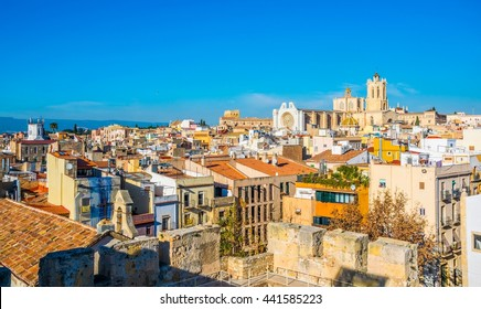 Aerial view of tarragona taken from the circo romano with the cathedral of saint mary on background