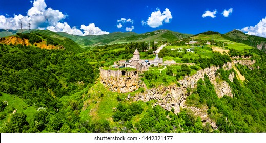 Aerial view of Tatev monastery. UNESCO world heritage in Armenia