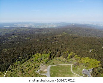 aerial view in Taunus, Germany on a sunny day, spring