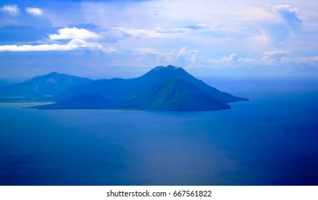 Aerial view to Tavurvur volcano at Rabaul, New Britain island, Papua New Guinea