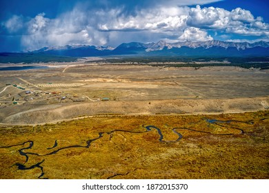Aerial View of Taylor's Park, Colorado with autumn colors.