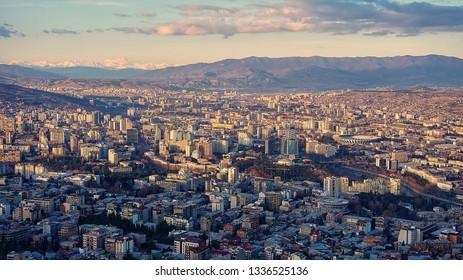 Aerial view of Tbilisi City from Mount Mtatsminda, Georgia