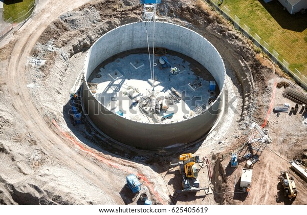 An aerial view of te construction of a 1.5 million gallon municipal water tank.