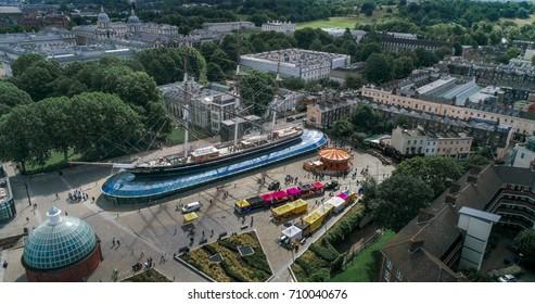 Aerial view of a tea clipper in Greenwich, London