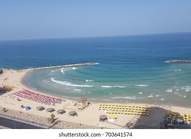 An aerial view of tel aviv beach