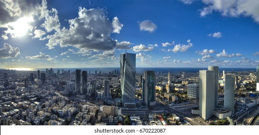 Aerial view of tel aviv skyline with urban skyscrapers and blue sky, Israel