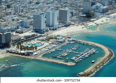 Aerial view of Tel-Aviv beach on the coastline of the Mediterranean sea. Israel.