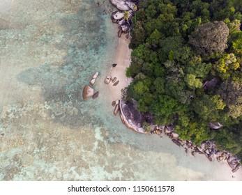 Aerial view of Teluk Dalam Beach of Perhentian Island, Kuala Terengganu, Terengganu, Malaysia.