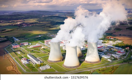 Aerial view to Temelin nuclear power plant.  This power station is important source of electricity for Czech Republic in European Union. Warm filtered photography.