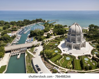 Aerial view of the a temple and harbor along the shores of Lake Michigan in a northern suburb of Chicago.