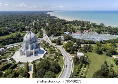 Aerial view of the a temple, harbor and shoreline in Wilmette, Illinois. USA