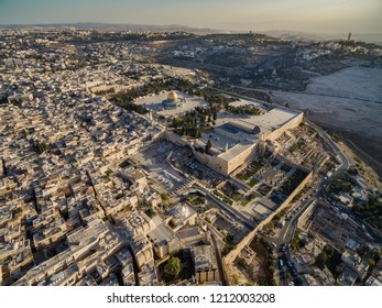 Aerial view of the Temple Mount in the Old City of Jerusalem, Israel