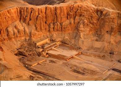 Aerial view of the Temple of Queen Hatshepsut near the Valley of Kings in Luxor, Egypt.