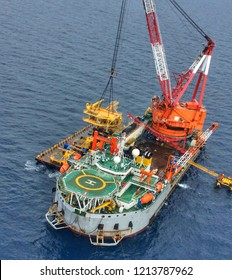 Aerial View of Tender Drilling Oil Rig (Barge Oil Rig) in The Middle of TAerial View of Tender Drilling Oil Rig (Barge) in The Middle of The Ocean or gulf, Offshore tender rig barge with oil and gas