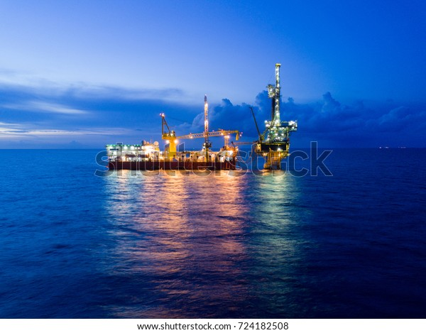 Aerial View Tender Drilling Oil Rig Stock Photo (Edit Now) 724182508