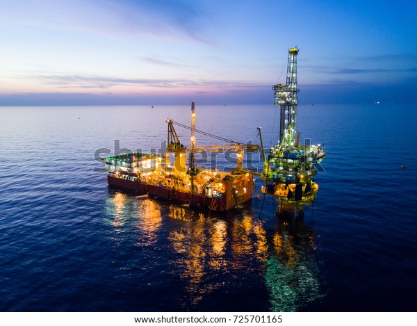Aerial View Tender Drilling Oil Rig Stock Photo (Edit Now) 725701165