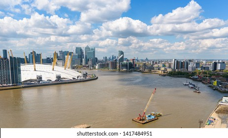 Aerial view of Thames River and Greenwich Peninsula in London, UK