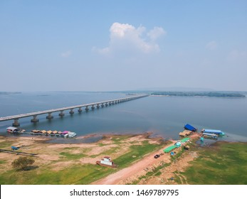 Aerial view Thepsuda Bridge over Lampao Reservoir.Thep Sada Bridge the Deja Vu Bridge is a 2-lane reinforced concrete bridge across Lam Pao Dam at Kalasin,Thailand.