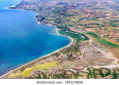 Aerial view of the Thermaic Gulf or Gulf of Salonika and the Macedonian Gulf, at Aegean Sea. It is named after the ancient town of Therma, today the modern Thessaloniki, Greece, June of 2014.