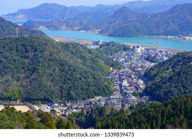 Aerial view of the thermal bath town of Kinosaki Onsen seen from Mount Daishi in Hyogo prefecture, Japan